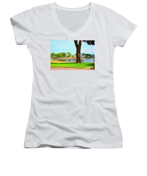Women's V-Neck T-Shirt (Junior Cut) featuring the photograph By The Sea by Judy Palkimas