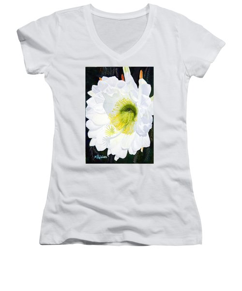 Cactus Flower II Women's V-Neck T-Shirt (Junior Cut) by Mike Robles
