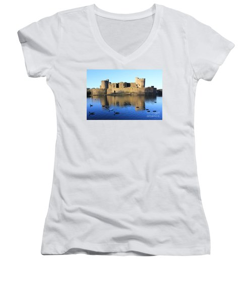 Women's V-Neck T-Shirt (Junior Cut) featuring the photograph Caerphilly Castle by Vicki Spindler