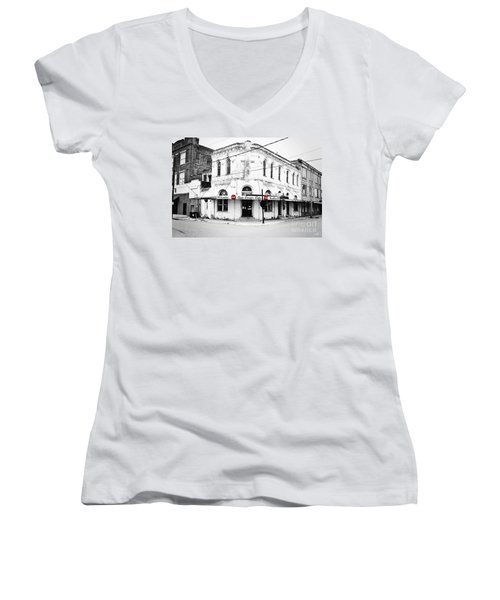 Cajun Corner Cafe Women's V-Neck T-Shirt (Junior Cut) by Scott Pellegrin