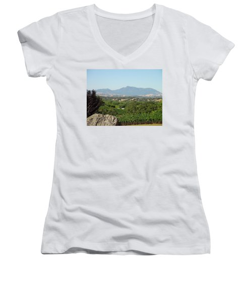 Women's V-Neck T-Shirt (Junior Cut) featuring the photograph Cali View by Shawn Marlow