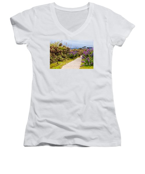 California Coastline Path Women's V-Neck T-Shirt (Junior Cut) by Melinda Ledsome