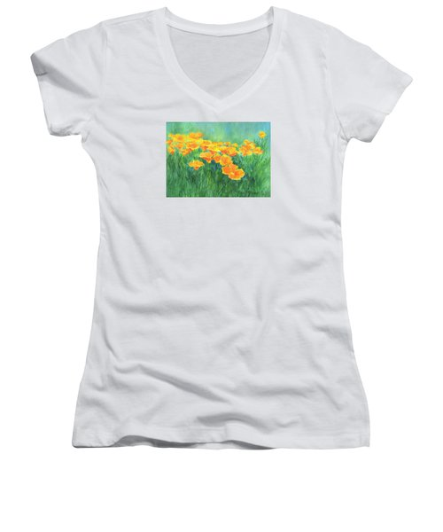 California Golden Poppies Field Bright Colorful Landscape Painting Flowers Floral K. Joann Russell Women's V-Neck T-Shirt (Junior Cut) by Elizabeth Sawyer