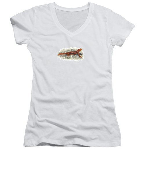 California Newt Women's V-Neck T-Shirt (Junior Cut) by Cindy Hitchcock