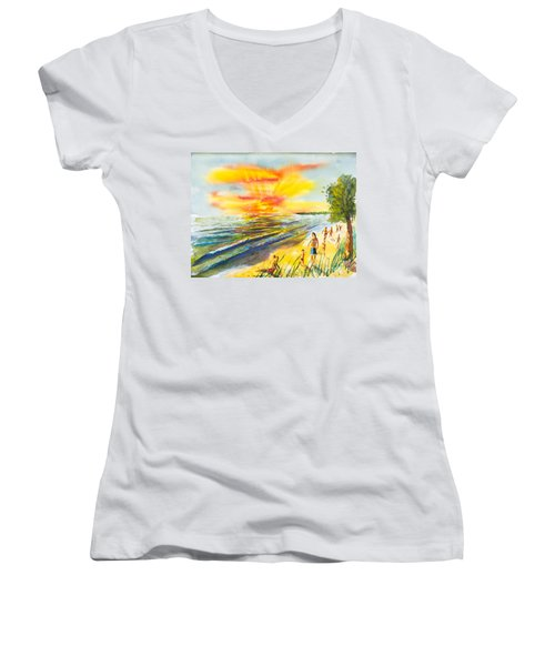 California Sunset Women's V-Neck (Athletic Fit)