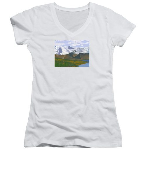 Canadian Rockies Women's V-Neck T-Shirt (Junior Cut) by Terry Frederick