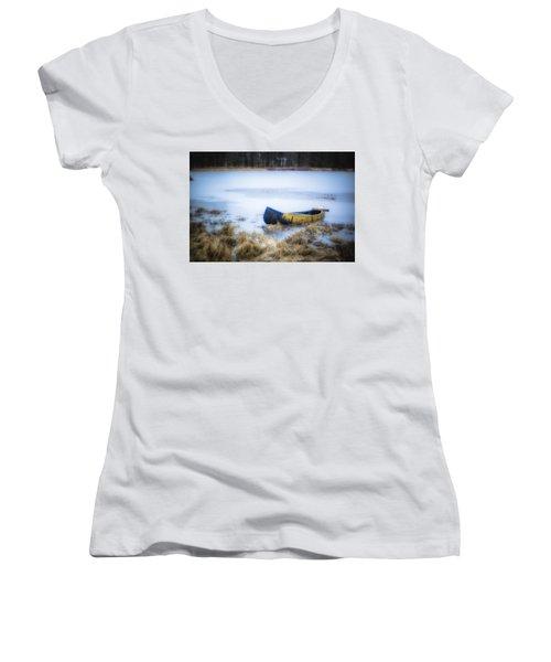 Canoe At The Frozen Lake Women's V-Neck T-Shirt
