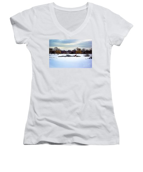 Canoes In The Snow Women's V-Neck