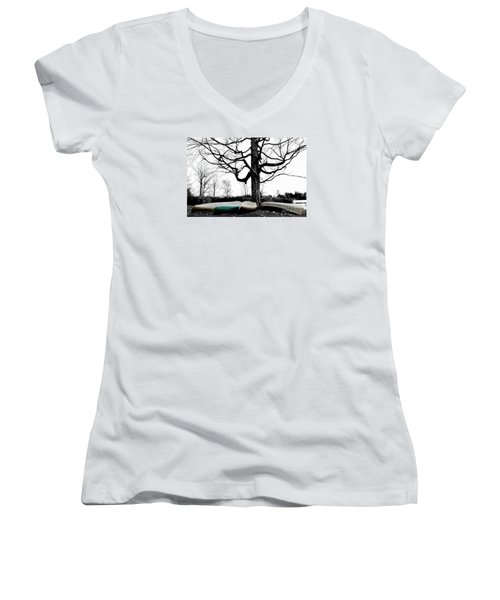 Canoes In Winter Women's V-Neck (Athletic Fit)