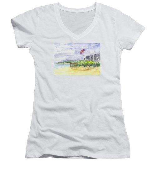 Massachusetts -cape Cod Cottages Women's V-Neck T-Shirt