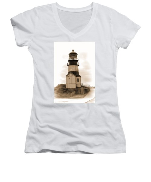 Cape Disappointment Lighthouse Women's V-Neck T-Shirt (Junior Cut) by Cathy Anderson