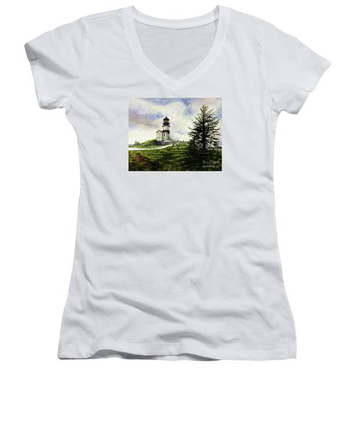 Cape Disappointment Lighthouse On The Washington Coast Women's V-Neck T-Shirt