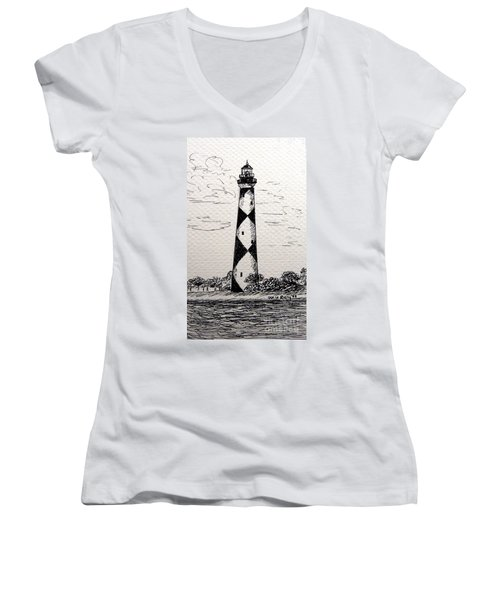 Women's V-Neck T-Shirt (Junior Cut) featuring the drawing Cape Lookout Lighthouse Nc by Julie Brugh Riffey