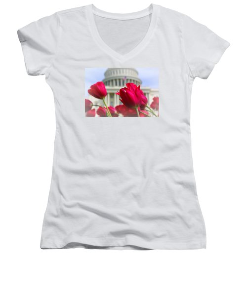Women's V-Neck T-Shirt (Junior Cut) featuring the photograph Capital Flowers  by John S