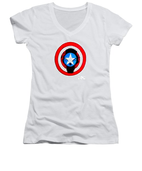 Women's V-Neck T-Shirt (Junior Cut) featuring the drawing Captain America And Red Skull by Justin Moore