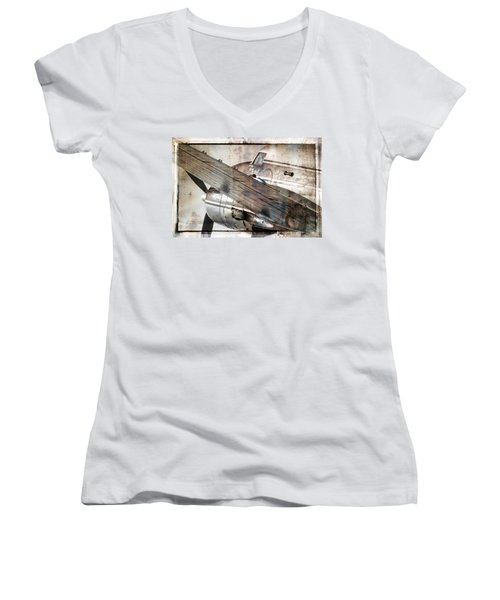 Women's V-Neck T-Shirt (Junior Cut) featuring the photograph Captain's Flight by Steven Bateson