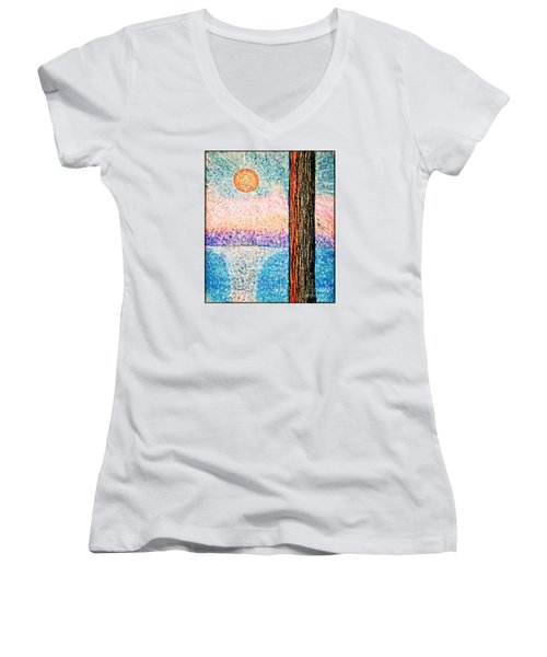 Carmel Highlands Sunset Women's V-Neck T-Shirt (Junior Cut) by Joseph J Stevens
