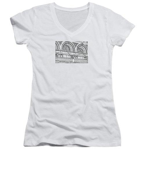Carnegie Hall Women's V-Neck T-Shirt (Junior Cut) by Ira Shander