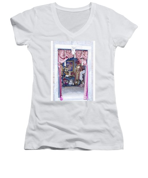 Women's V-Neck T-Shirt (Junior Cut) featuring the digital art Carnevale Shop In Venice Italy by Victoria Harrington