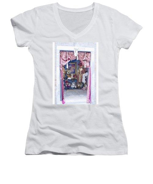 Carnevale Shop In Venice Italy Women's V-Neck T-Shirt (Junior Cut) by Victoria Harrington