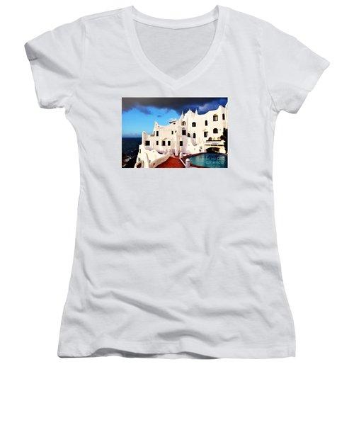 Casa Pueblo Al Mar Women's V-Neck T-Shirt (Junior Cut) by Valerie Rosen