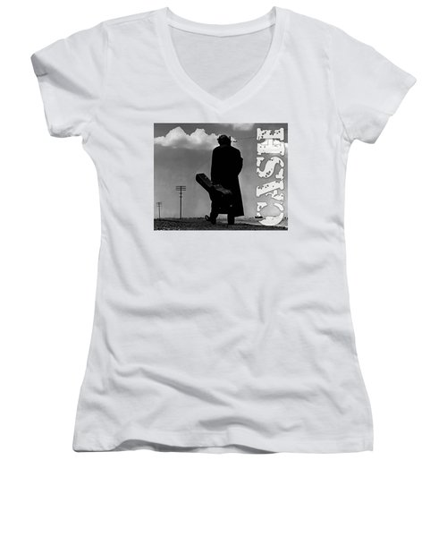 Women's V-Neck T-Shirt (Junior Cut) featuring the mixed media Johnny Cash by Marvin Blaine