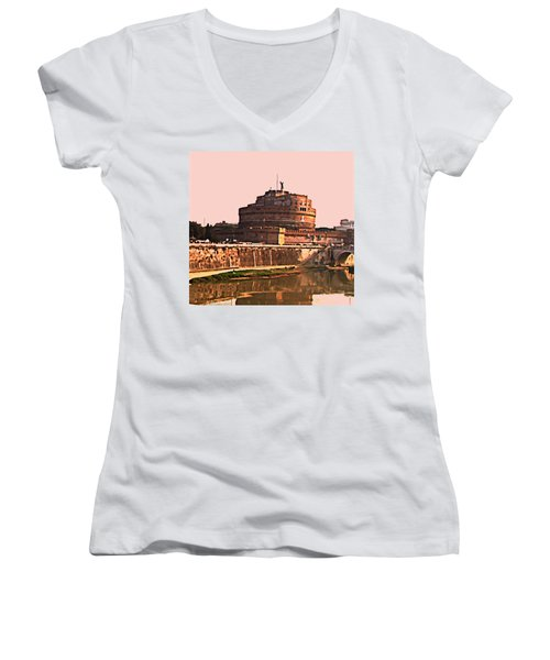 Women's V-Neck T-Shirt (Junior Cut) featuring the photograph Castel Sant 'angelo by Brian Reaves