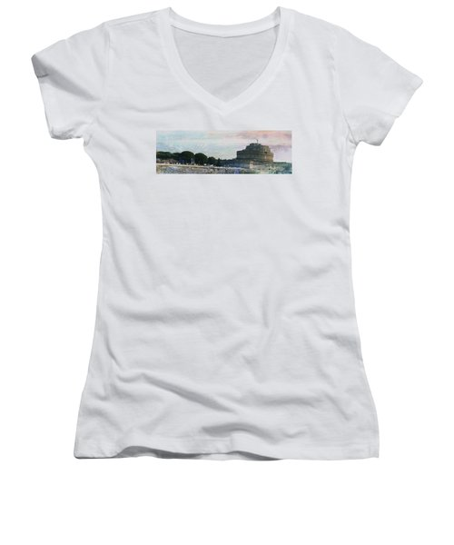 Women's V-Neck T-Shirt (Junior Cut) featuring the painting Castel Sant'angelo     by Brian Reaves