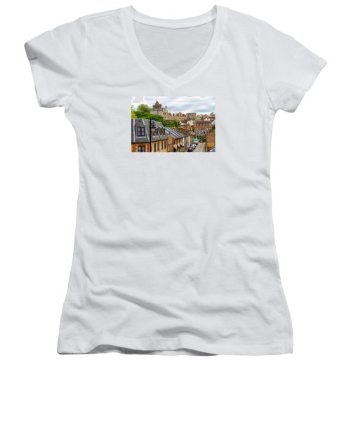 Castle Above The Town Women's V-Neck T-Shirt