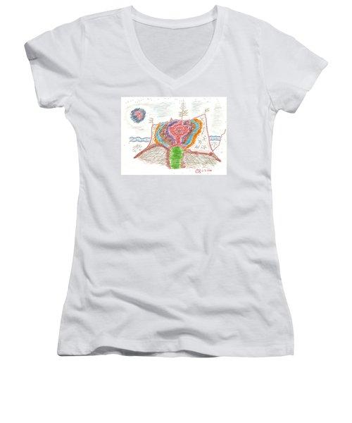 Castle Rose Women's V-Neck T-Shirt (Junior Cut) by Mark David Gerson
