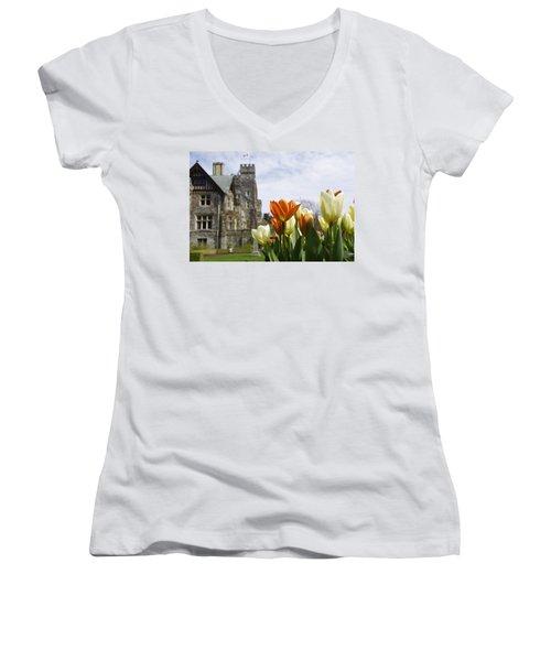 Castle Tulips Women's V-Neck T-Shirt