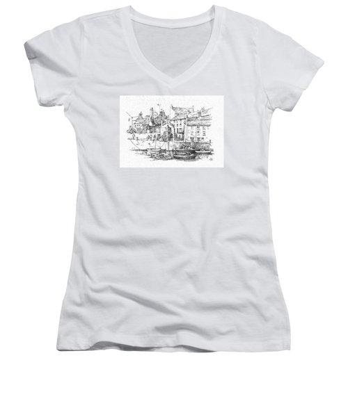 Women's V-Neck T-Shirt (Junior Cut) featuring the drawing Castletown Harbour by Paul Davenport