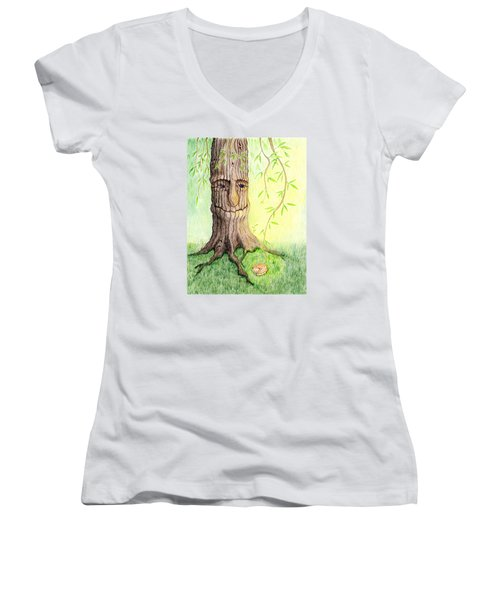 Women's V-Neck T-Shirt (Junior Cut) featuring the drawing Cat And Great Mother Tree by Keiko Katsuta