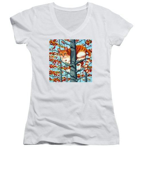 Orange Cat In Tree Autumn Fall Colors Women's V-Neck T-Shirt