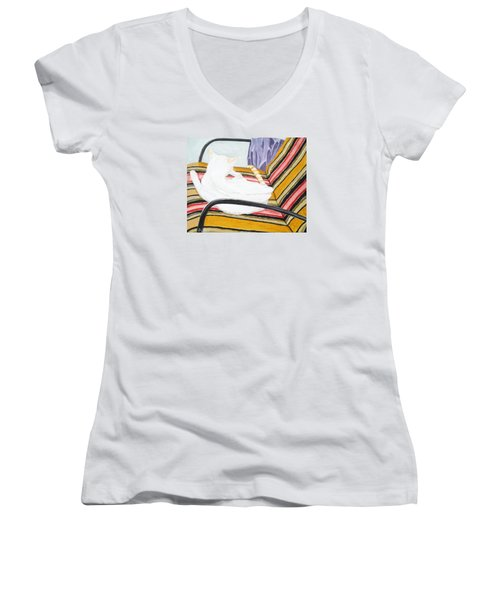 Cat Painting Women's V-Neck (Athletic Fit)