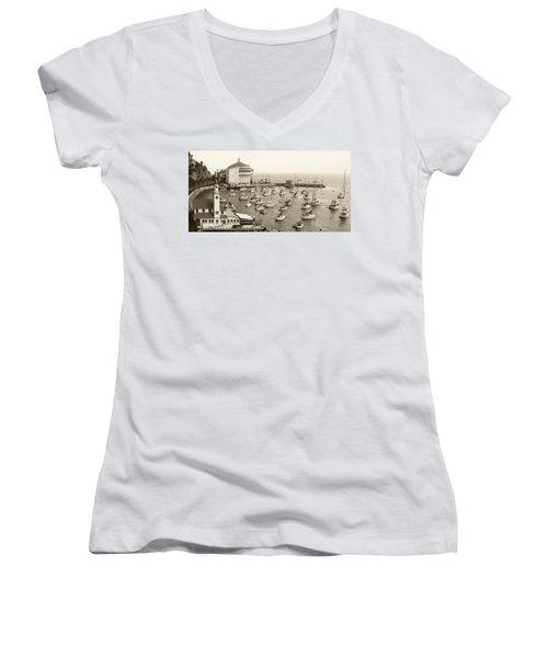 Catalina Island. Avalon Women's V-Neck T-Shirt (Junior Cut) by Ben and Raisa Gertsberg