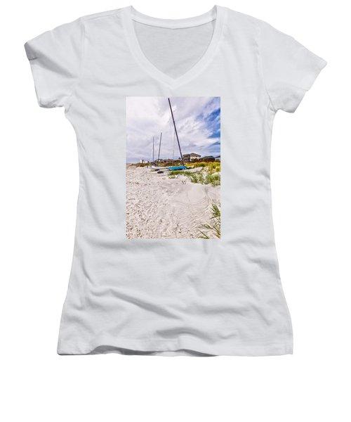 Women's V-Neck T-Shirt (Junior Cut) featuring the photograph Catamaran by Sennie Pierson