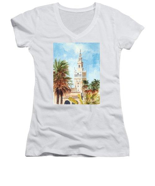 Catedral De Sevilla Women's V-Neck (Athletic Fit)