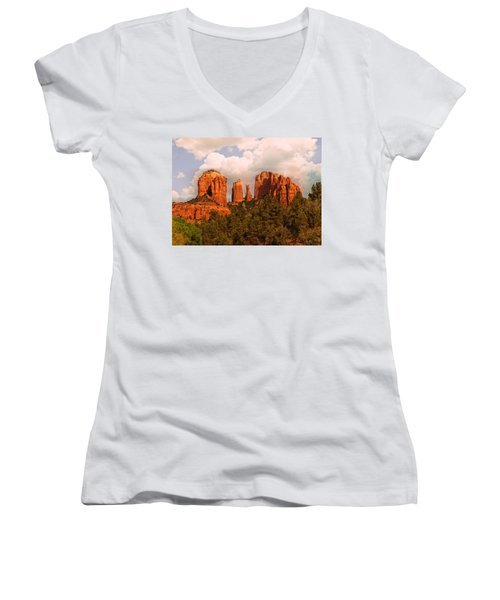 Women's V-Neck featuring the photograph Cathedral Rock Sunset by Bob and Nadine Johnston