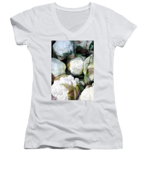 Cauliflower Bouquet Women's V-Neck T-Shirt (Junior Cut) by Elaine Plesser