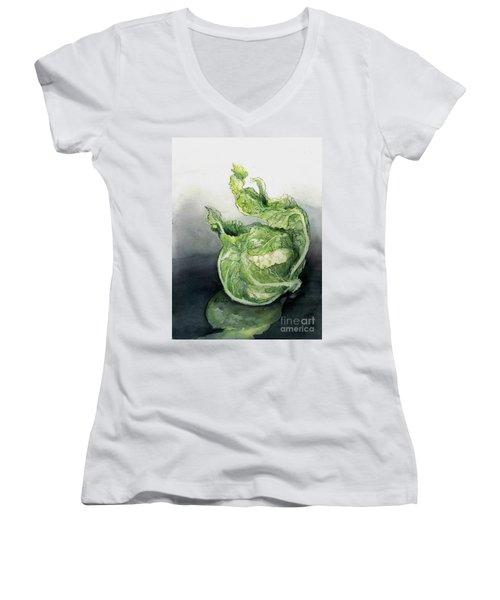 Cauliflower In Reflection Women's V-Neck T-Shirt (Junior Cut) by Maria Hunt