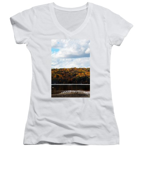 Women's V-Neck T-Shirt (Junior Cut) featuring the photograph Cayuga Lake In Colorful Fall Ithaca New York  by Paul Ge