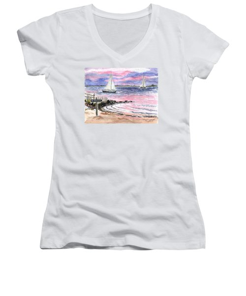 Cedar Beach Pinks Women's V-Neck T-Shirt (Junior Cut)