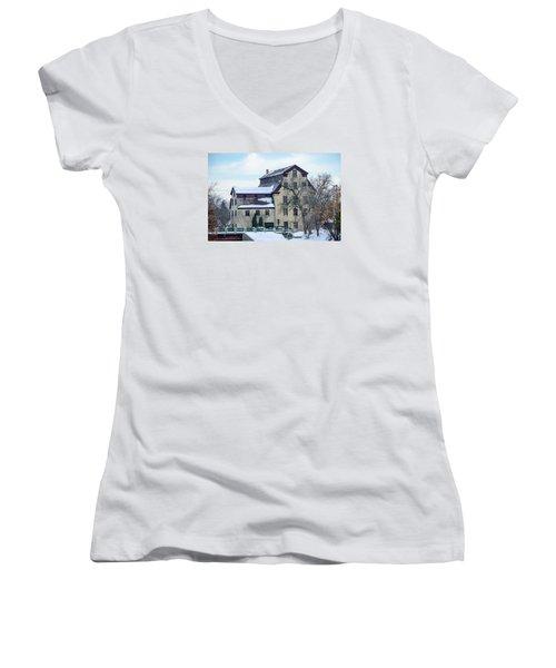 Cedarburg Mill Women's V-Neck T-Shirt (Junior Cut) by Susan  McMenamin