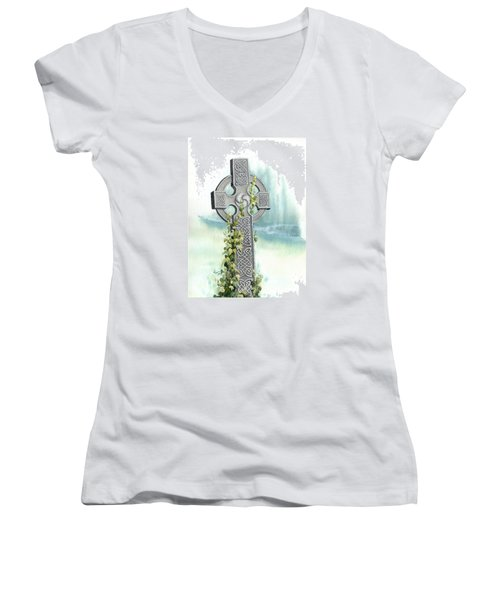 Celtic Cross With Ivy II Women's V-Neck