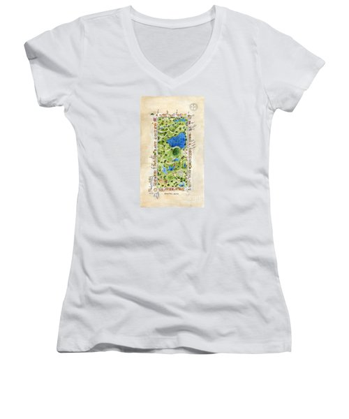 Central Park And All That Surrounds It Women's V-Neck T-Shirt (Junior Cut) by AFineLyne