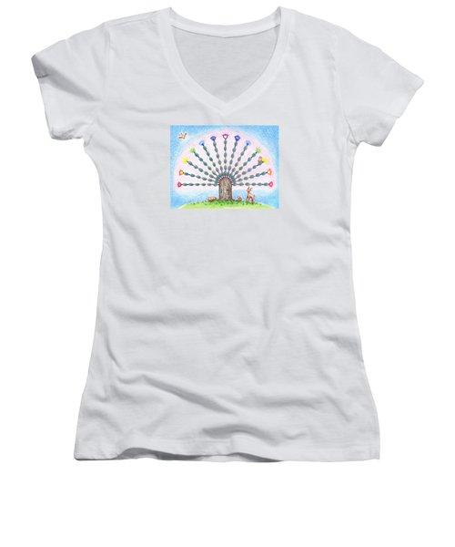 Chakra Tree Women's V-Neck T-Shirt