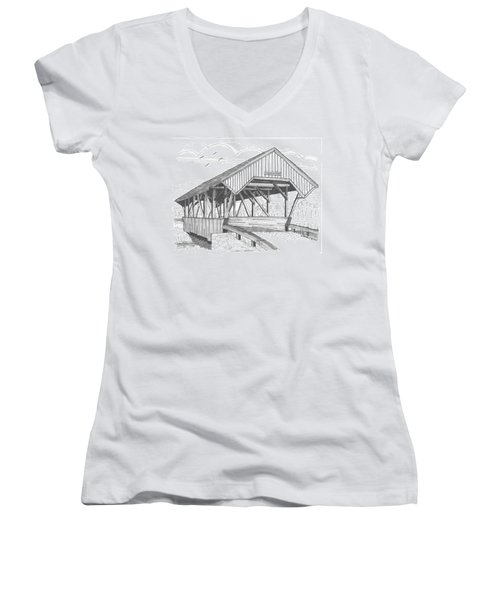 Chamberin Mill Covered Bridge Women's V-Neck