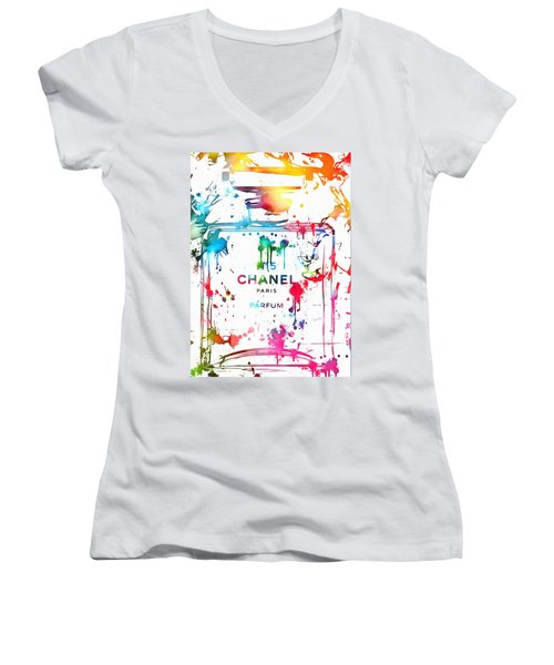 Chanel Number Five Paint Splatter Women's V-Neck T-Shirt (Junior Cut) by Dan Sproul