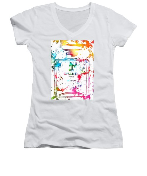 Women's V-Neck featuring the painting Chanel Number Five Paint Splatter by Dan Sproul